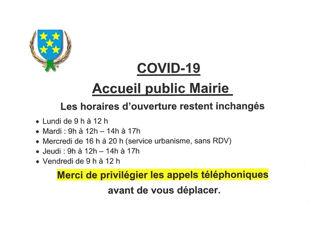 Covid 19 Oct 2020 horaires mairie