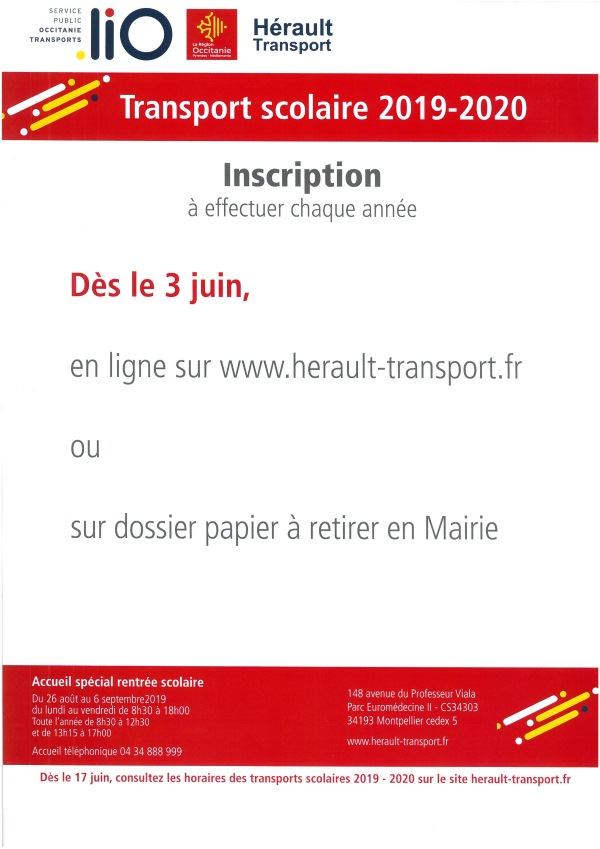 Inscription transport scolaire 2019 2020