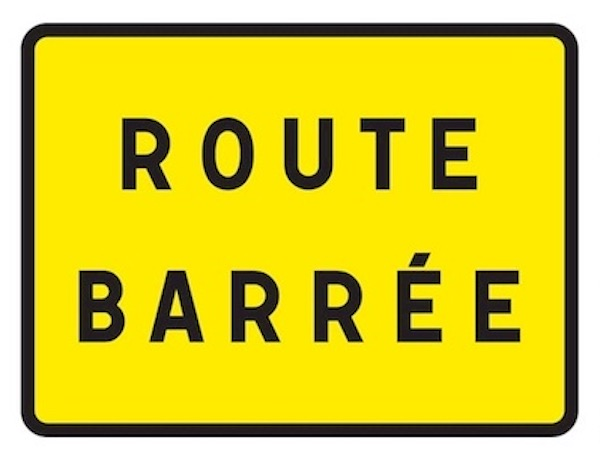 Route barree Olivettes 2020